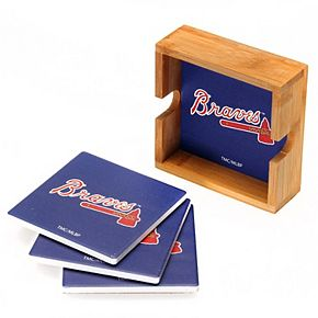 Atlanta Braves 4-Pack Square Coaster Set with Caddy