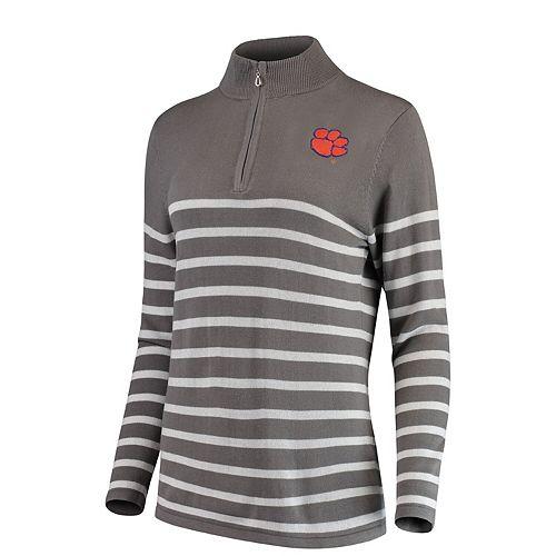 Women's Gray/White Clemson Tigers Lurex Striped Quarter-Zip Pullover Sweater