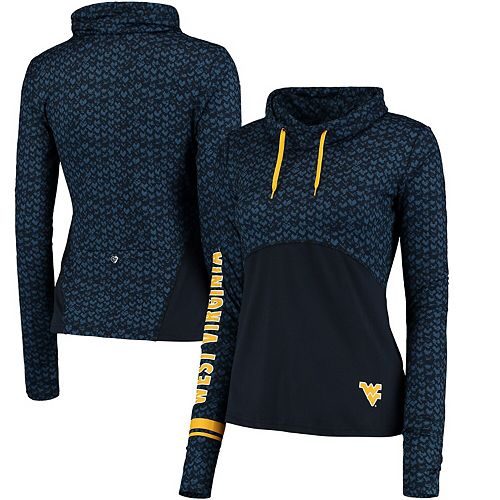 Women's Colosseum Navy West Virginia Mountaineers Scaled Cowl Neck Pullover Hoodie