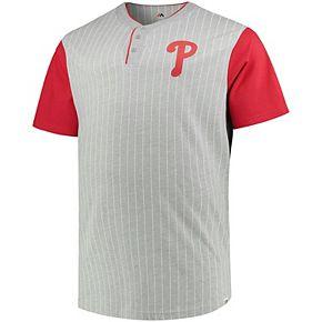 Men's Majestic Gray/Red Philadelphia Phillies Big & Tall Life or Death Pinstripe Henley T-Shirt