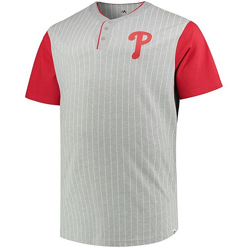 Men's Majestic Gray/Red Philadelphia Phillies Big & Tall Life or Death Pinstripe Henley T-Shirt