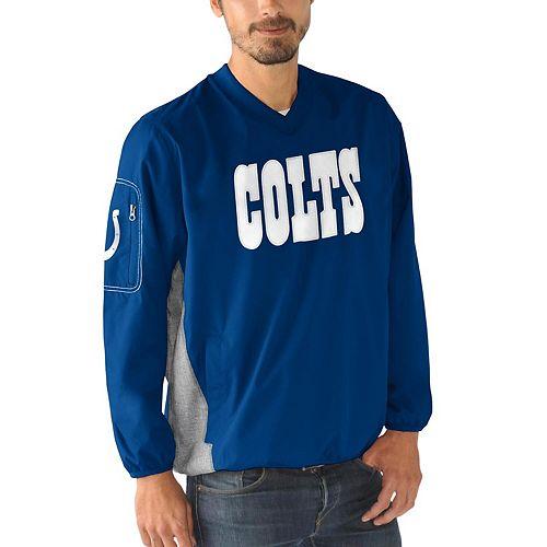 Men's G-III Sports by Carl Banks Royal Indianapolis Colts Gridiron V-Neck Pullover Sweatshirt