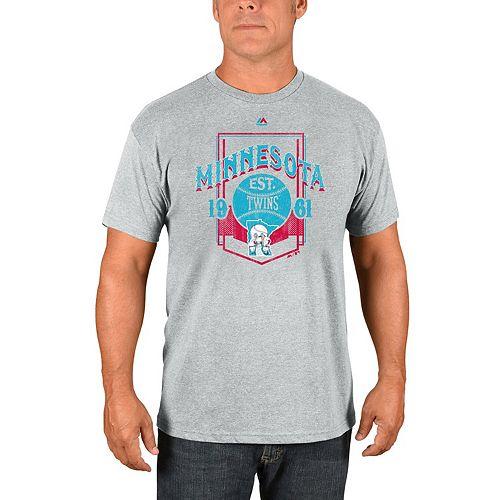 Men's Majestic Gray Minnesota Twins Vintage Style T-Shirt