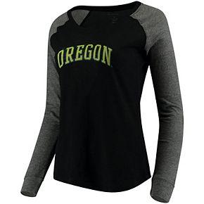 Women's Black Oregon Ducks Preppy Elbow Patch Slub Long Sleeve T-Shirt