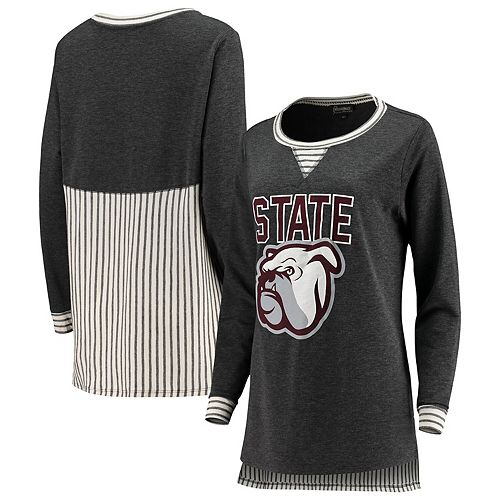 Women's Charcoal Mississippi State Bulldogs Striped Panel Oversized Tri-Blend Long Sleeve Tunic Shirt