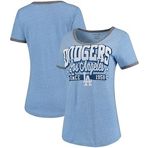 Women's 5th & Ocean by New Era Royal/Charcoal Los Angeles Dodgers Jersey Ringer Tri-Blend T-Shirt