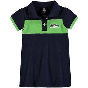 Girls Toddler College Navy/Neon Green Seattle Seahawks Halftime Dress