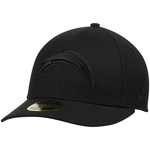 Men's New Era Los Angeles Chargers Black on Black Low Profile 59FIFTY Fitted Hat