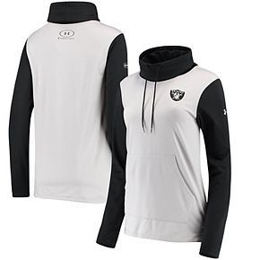 Women's Under Armour Heathered Gray/Black Oakland Raiders Combine Authentic French Terry Cowl Neck Hoodie