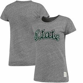 Women's Original Retro Brand Heathered Gray Michigan State Spartans Tri-Blend Crew Neck T-Shirt