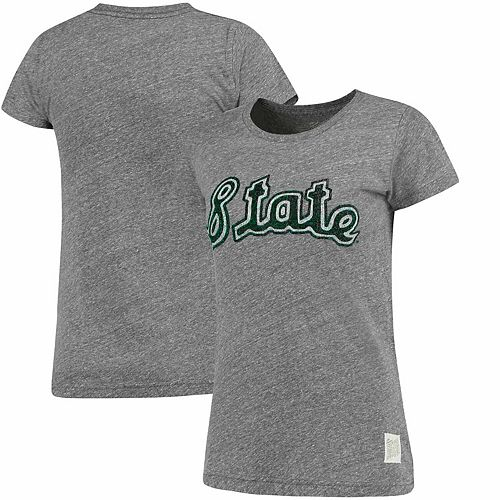 Women's Original Retro Brand Heathered Gray Michigan State Spartans Tri-Blend Crew Neck T-Shirt