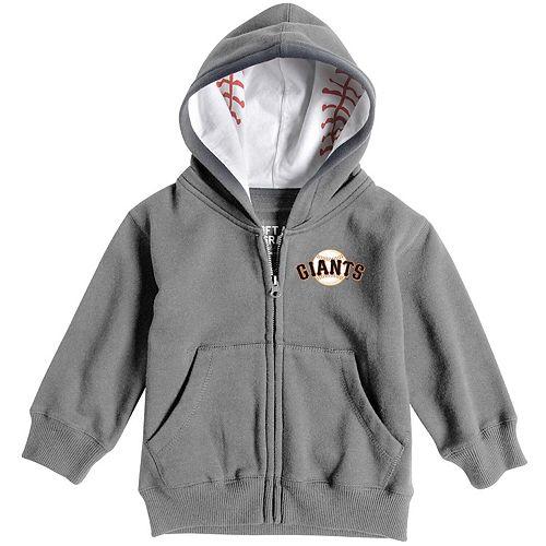 Toddler Soft as a Grape Heathered Gray San Francisco Giants Baseball Print Full-Zip Hoodie