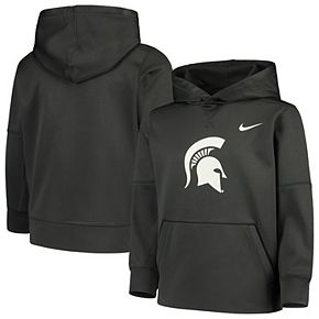 Youth Nike Anthracite Michigan State Spartans Logo KO Pullover Performance Hoodie