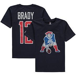 Youth Tom Brady Navy New England Patriots Vintage Distressed Name & Number T-Shirt