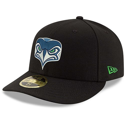 Men's New Era Black Seattle Seahawks Omaha Low Profile 59FIFTY Fitted Hat