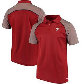 Men's Stitches Red Philadelphia Phillies First Pitch Mesh Raglan Polo
