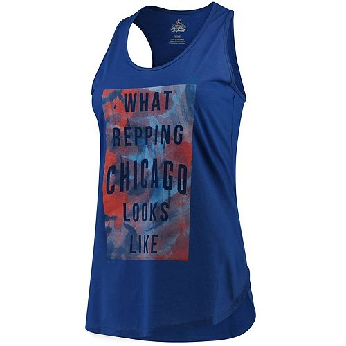 Women's Majestic Royal Chicago Cubs All Day Long Tank Top