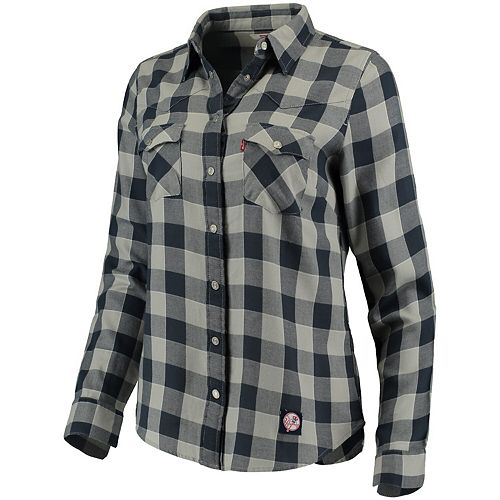 Women's Levi's Navy New York Yankees Western Full-Snap Shirt
