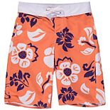 Youth Wes & Willy Orange Clemson Tigers Floral Swim Trunks