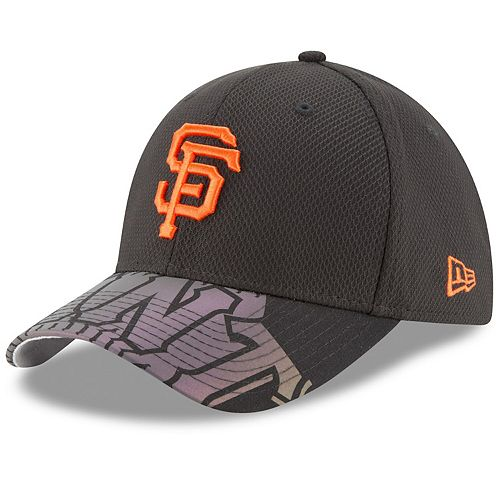 Men's New Era Black San Francisco Giants Flow Flect Logo 39THIRTY Flex Hat