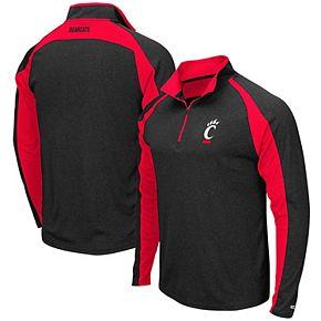 Men's Colosseum Heathered Black Cincinnati Bearcats The J. Peterman Quarter-Zip Pullover Jacket