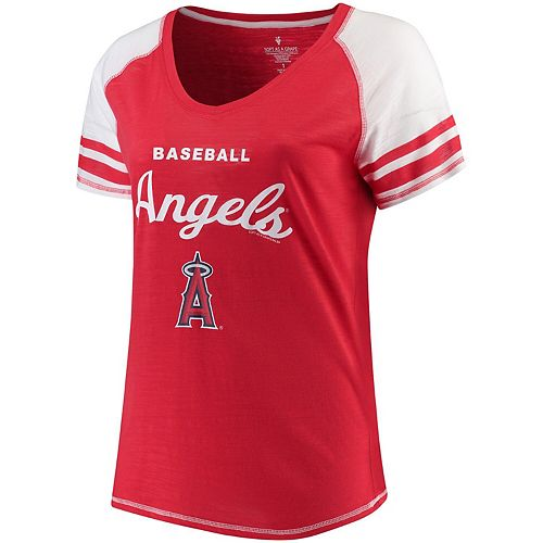 Women's Soft as a Grape Red Los Angeles Angels Plus Sizes Three Out Color Blocked Raglan Sleeve T-Shirt