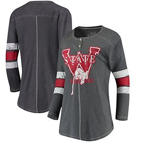 Women's Original Retro Brand Charcoal Washington State Cougars Sleeve Striped Henley Long Sleeve T-Shirt