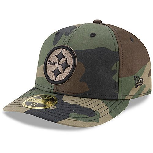 Men's New Era Pittsburgh Steelers Woodland Camo Low Profile 59FIFTY Fitted Hat