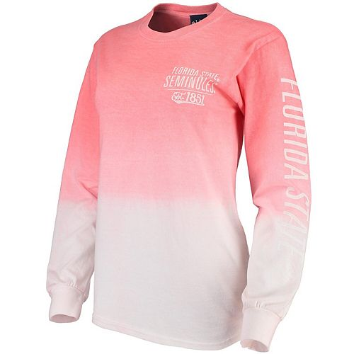 Women's Blue 84 Coral Florida State Seminoles Iniquity Ombre Oversized Long Sleeve T-Shirt