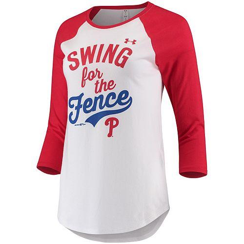 Women's Under Armour White/Red Philadelphia Phillies Baseball 3/4-Sleeve T-Shirt