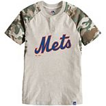 Youth Majestic Cream/Camo New York Mets Base Stealer Henley T-Shirt