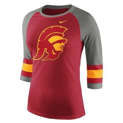 Women's Nike Cardinal USC Trojans Sleeve Stripe Raglan 3/4 Sleeve Tri-Blend T-Shirt