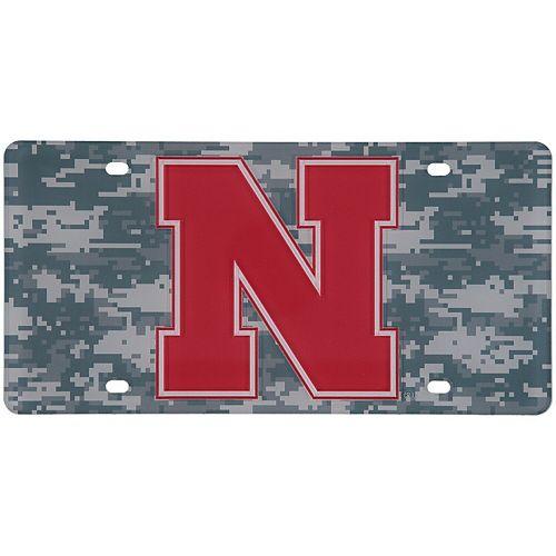 Nebraska Cornhuskers Digi Camo Laser Cut License Plate