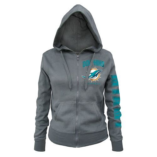 Women's New Era Gray Miami Dolphins Playbook Glitter Sleeve Full-Zip Hoodie