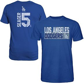 Men's Majestic Threads Corey Seager Royal Los Angeles Dodgers Sidewinder Name & Number T-Shirt