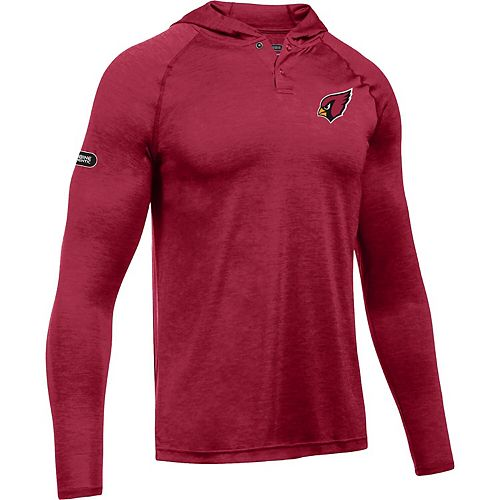 Men's Under Armour Cardinal Arizona Cardinals Combine Authentic Hooded Novelty Tech Twist Performance Long Sleeve T-Shirt