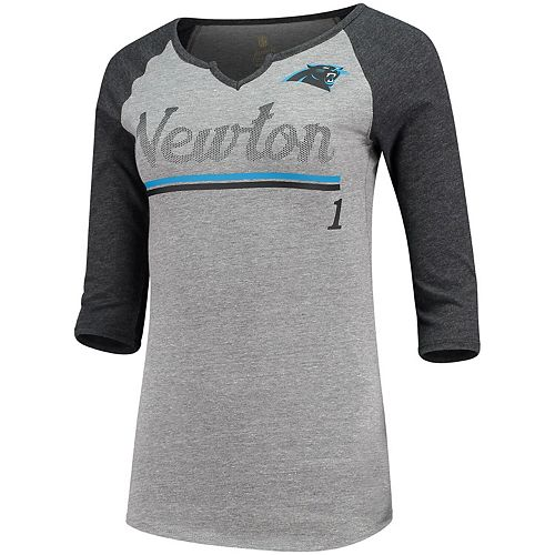 Women's Juniors Cam Newton Heathered Gray/Black Carolina Panthers Over the Line Player Name & Number Tri-Blend 3/4-Sleeve V-Notch T-Shirt