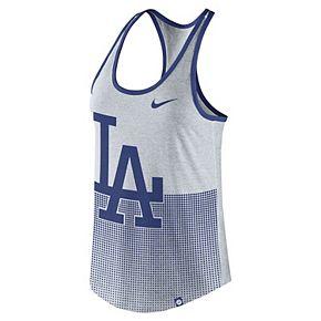 Women's Nike Heathered Gray Los Angeles Dodgers Dri-Blend Logo 1.7 Racerback Performance Tank Top