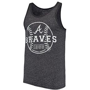 Men's Majestic Threads Heathered Navy Atlanta Braves The Stretch Contrast Tri-Blend Tank Top