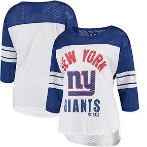Women's G-III 4Her by Carl Banks White/Royal New York Giants First Team Three-Quarter Sleeve Mesh T-Shirt