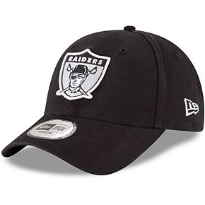 Men's New Era Black Oakland Raiders NE Core Fit Throwback 49FORTY Fitted Hat