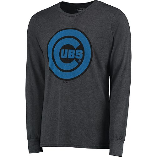 Men's Majestic Threads Graphite Chicago Cubs Tri-Blend Long Sleeve T-Shirt