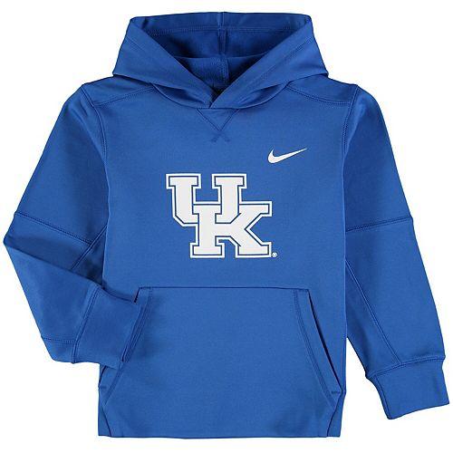 Youth Nike Royal Kentucky Wildcats Logo KO Pullover Performance Hoodie