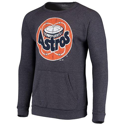 Men's Majestic Threads Navy Houston Astros Cooperstown Collection Tri-Blend Pocket Fleece Sweatshirt