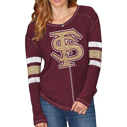 Women's Original Retro Brand Garnet Florida State Seminoles Sleeve Striped Henley Long Sleeve T-Shirt