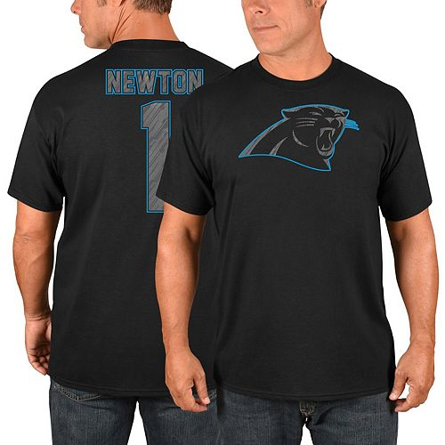 Men's Majestic Cam Newton Black Carolina Panthers Primetime Player Name & Number T-Shirt