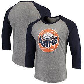 Men's Majestic Threads Heathered Gray/Navy Houston Astros Cooperstown Collection 3/4-Sleeve Raglan Tri-Blend T-Shirt