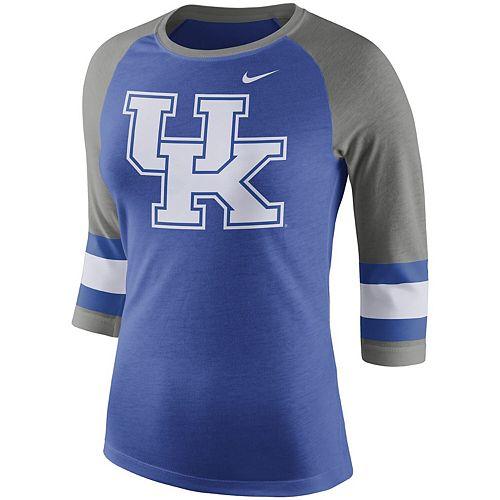 Women's Nike Heathered Royal Kentucky Wildcats Sleeve Stripe Raglan 3/4 Sleeve Tri-Blend T-Shirt