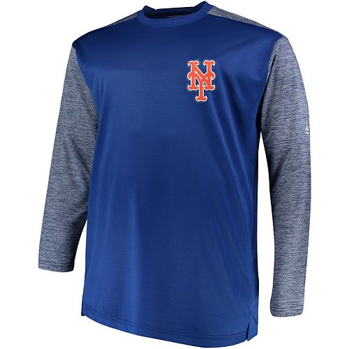 Men's Majestic Royal/Gray New York Mets Big & Tall On-Field Tech Fleece Sweatshirt