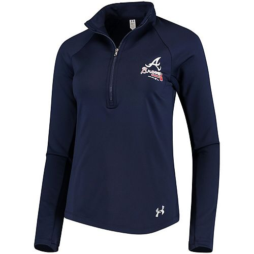 Women's Under Armour Navy Atlanta Braves Team Logo Half-Zip Performance Jacket